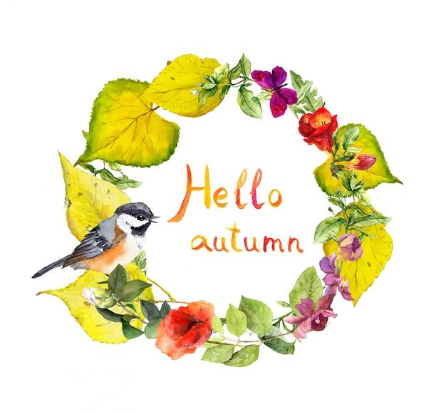 秋の花輪、鳥、花、黄色の葉。花の水彩境界