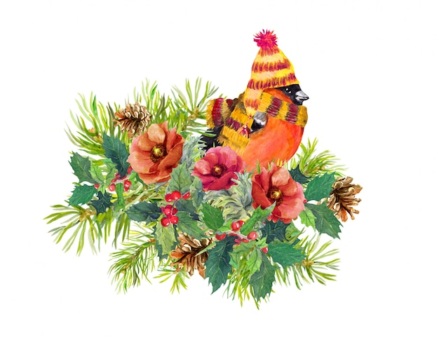 クリスマス組成-フィンチ鳥、冬の花、トウヒの木、ヤドリギ