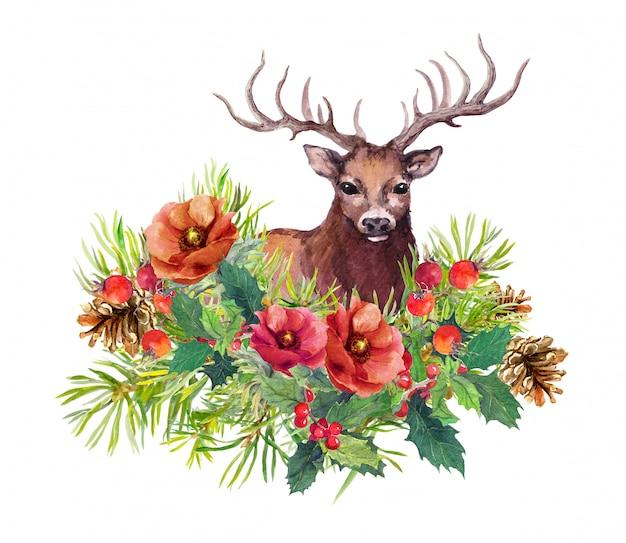鹿動物、冬の花、モミの木、クリスマスカードのヤドリギ