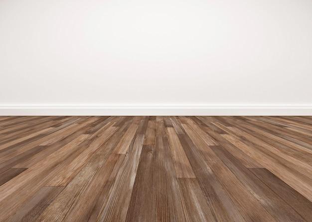 木製の床と白い壁、空の部屋
