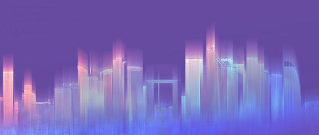 Футуристический красочный город, неоновый фиолетовый