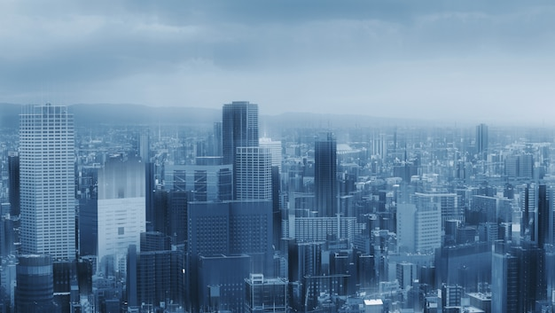 未来の高層ビルビル街のスカイライン