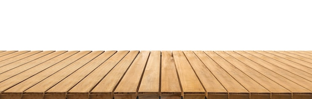 白い背景のクリッピングパスの木製の床の視点