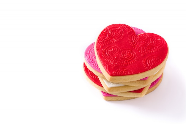 バレンタインデーのハート型のクッキーが分離されました。