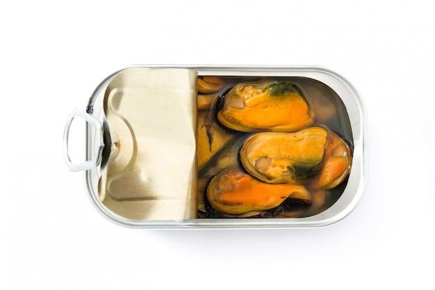 ムール貝は白で隔離保存することができます。上面図。