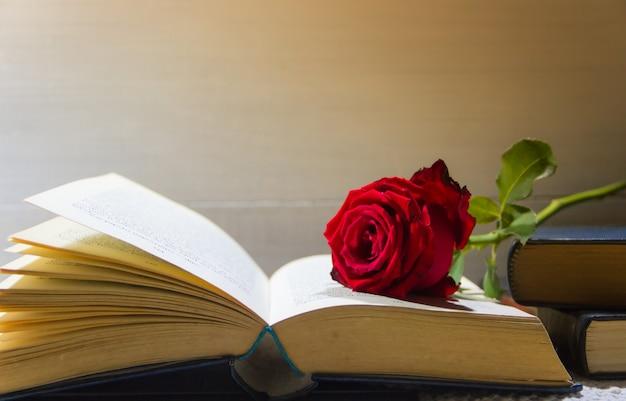 開いた本のロマンチックな赤いバラ