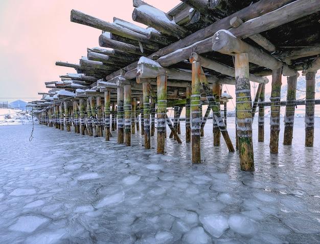 干潮。古い木製の橋。ムルマンスク地区、テリベルカ。コラ半島。ロシア極域