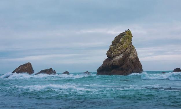 Скалы дракона в заливе мупе на закате возле юрского побережья в дорсете в англии