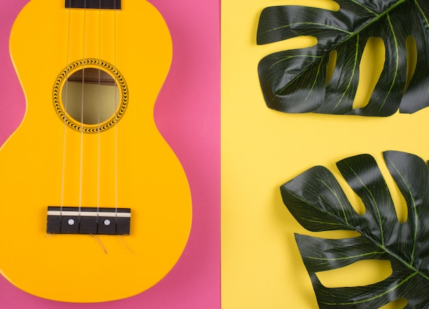 明るい黄色のウクレレギターとモンステラの葉