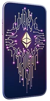 イーサリアムのシンボルと画面上の回路基板を持つスマートフォン。モバイルマイニングと取引の概念。