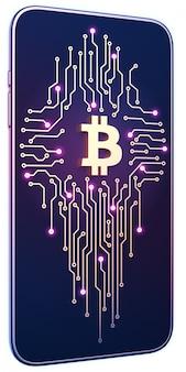 画面上のビットコインシンボルと回路基板を持つスマートフォン。モバイルマイニングと取引の概念。