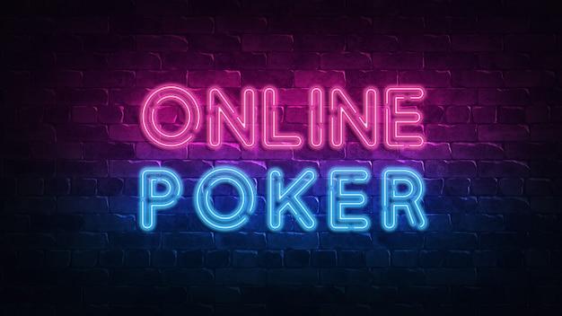 Онлайн покер неоновая вывеска в стиле ретро. азартная игра на удачу.