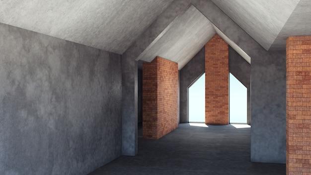 Ремонт пустой комнаты в винтажном стиле на сером фоне