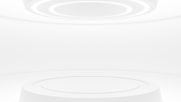 未来的なスタイルの白いスタジオ