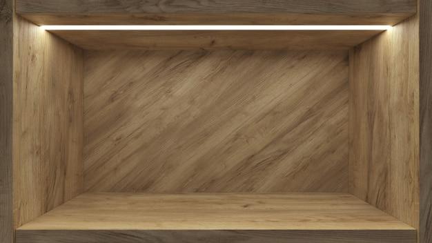 プロモーションデザインの背景のための現実的な空の棚。ブランク展示展示台