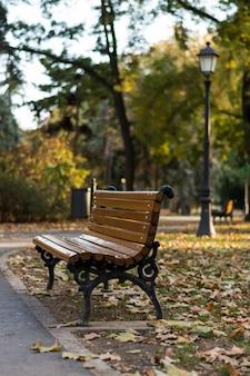 Скамейка в парке осенью