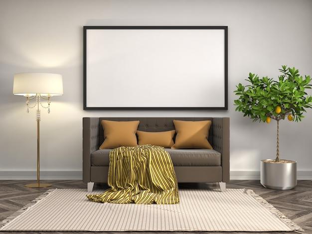 Интерьер гостиной с мебелью, диваном и пустой фоторамкой