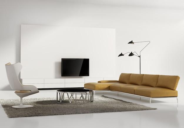 現代的な現代の壁システムのリビングルーム