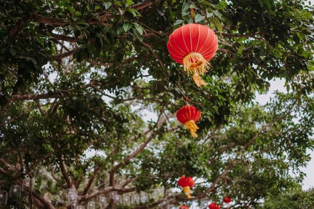 Китай путешествовать китайские красные фонарики в природном парке для китайского нового года лунное торжество баннер.