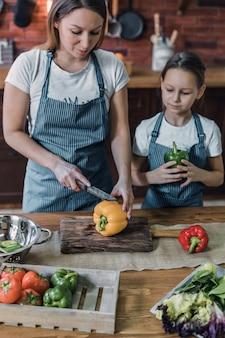 母と娘の唐辛子のスライス