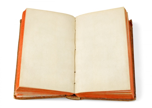 白で隔離される空白のページで古い本を開く