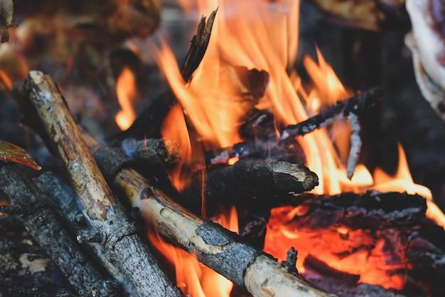 ログと枝と明るい暖炉のクローズアップ