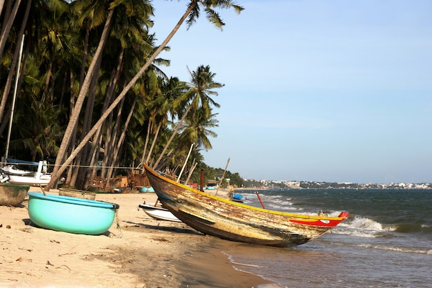 熱帯のビーチでヤシの木の下の木製ボート