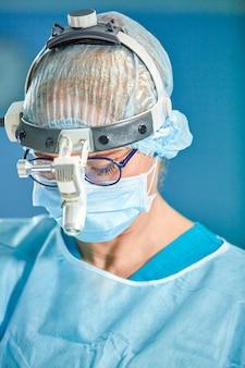 手術中に防護マスクと帽子をかぶっている女性外科医医師の肖像画を間近します。医療、医学教育、手術のコンセプト。