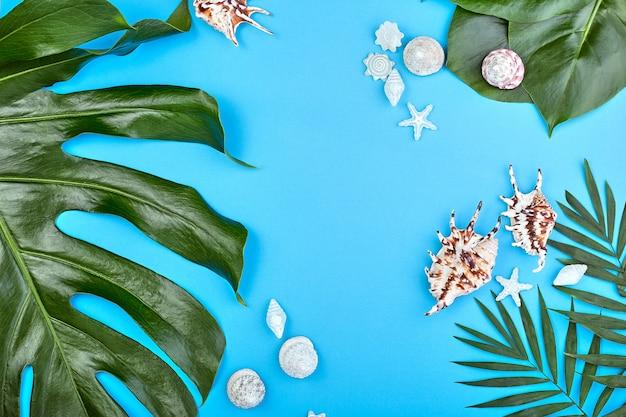 Летняя женская мода плоская планировка. тропические пальмовые ветви и ракушки на синей стене. пляж, отдых, концепция путешествия