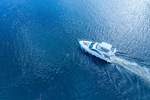 日光の下で川を駆け抜けるモーターボート