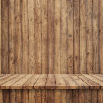 Деревянные доски пола с деревянной стеной