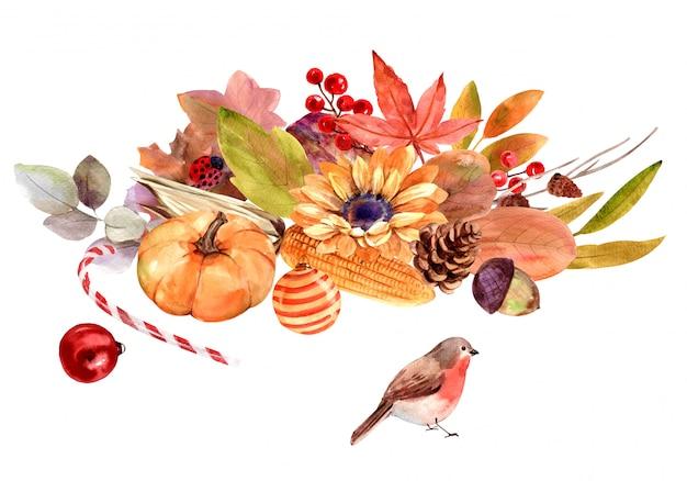水彩秋の花