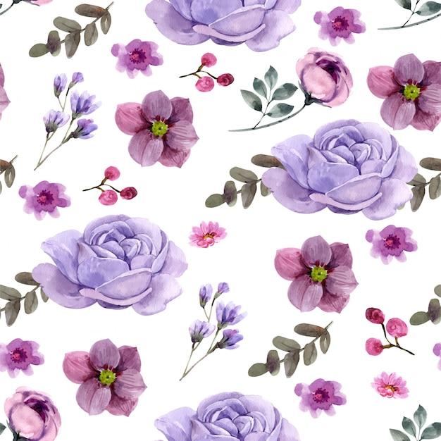 シームレスな花柄。プレミアムベクター