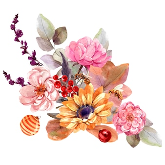 Букет цветов, изолированные акварелью