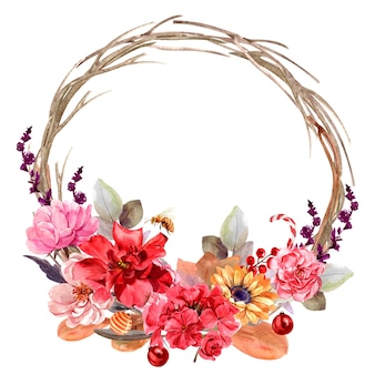 Рамка букет цветов изолированная акварелью