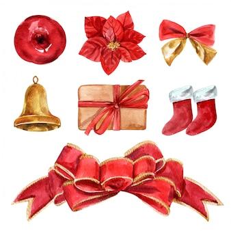 赤い弓とリボンのクリスマスを設定します