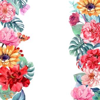 水彩画とフレームの花