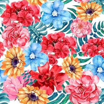 花の水彩画のシームレスなパターン。