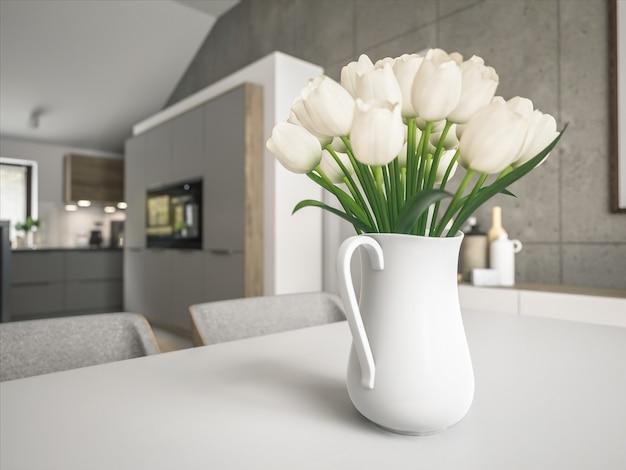 木製のテーブルの上に花瓶のチューリップ