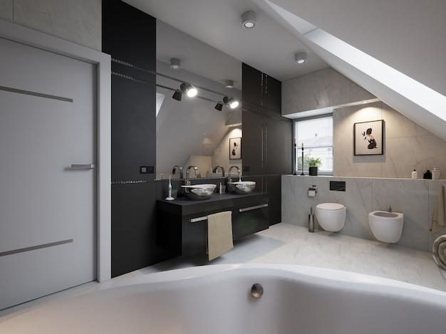 Интерьер современной ванной комнаты с раковиной и туалетом