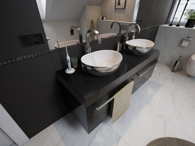 洗面台、トイレ付きのモダンなバスルームのインテリア