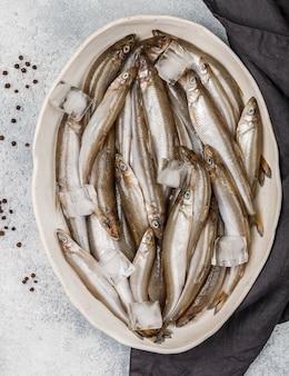 Корюшка, свежая сырая морская рыбка