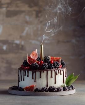 フルーツ、ベリー、チョコレート入りの自家製ムースケーキ