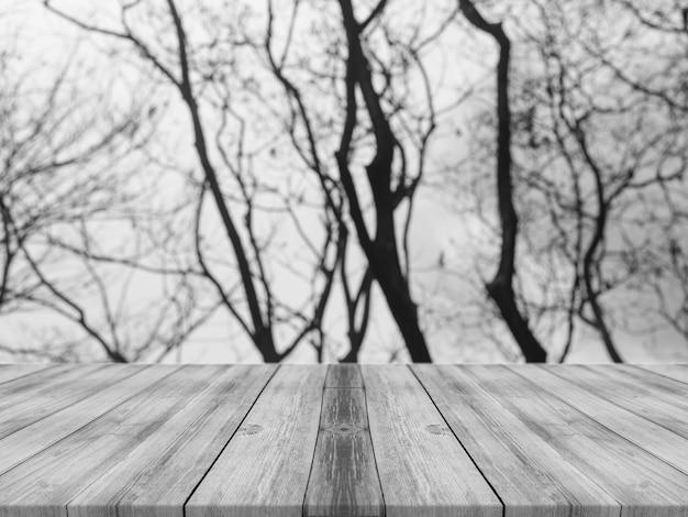 Черно-белый фон с досками и деревьями
