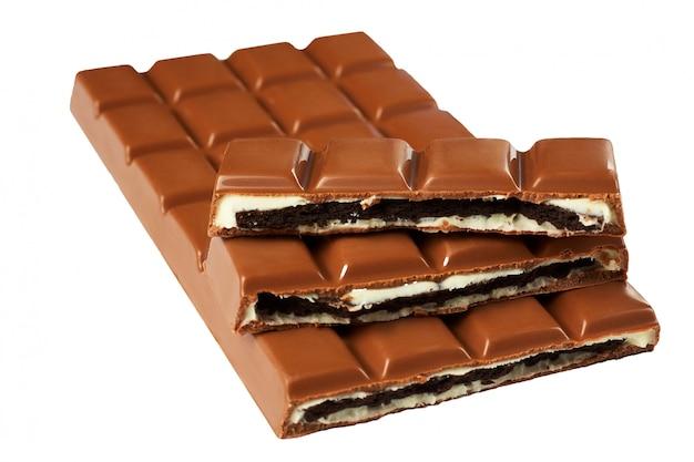 壊れたチョコレートのバー。分離されました。