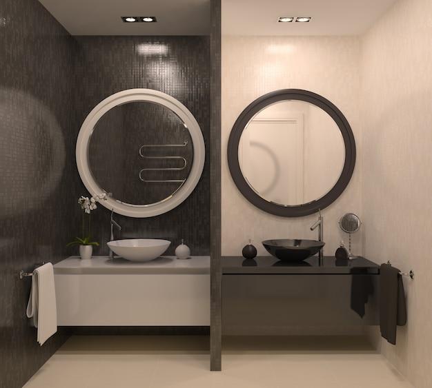 モダンなインテリアのバスルーム