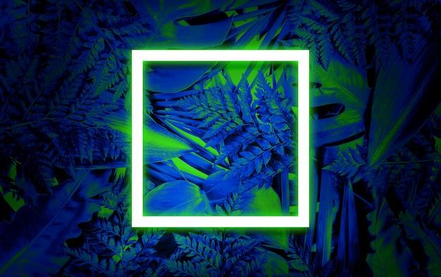 Флуоресцентный летний фон, абстрактная летняя пустая рамка
