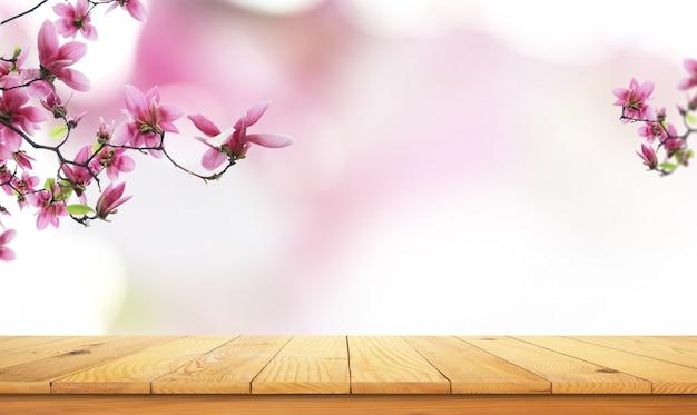 自然の風景と木製のテーブル