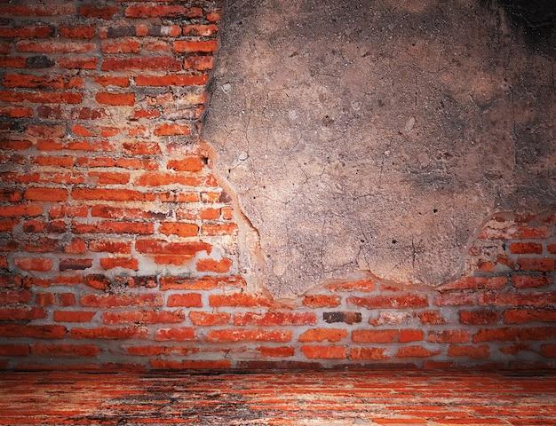 空の古いヴィンテージのレンガの壁テクスチャ。グランジの背景。スペースをコピーします。