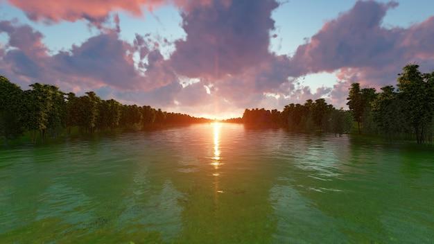水から見た夕暮れのビーチ